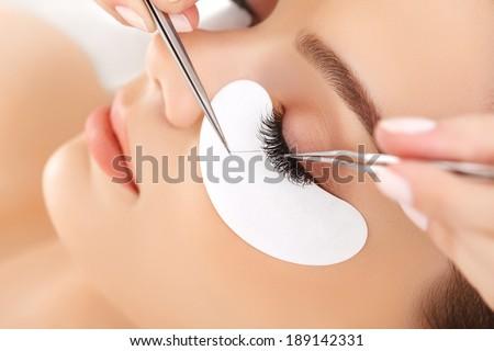 Woman Eye with Long Eyelashes. Eyelash Extension Royalty-Free Stock Photo #189142331