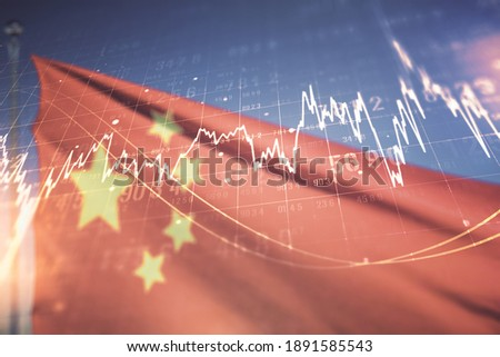 Multi exposure of virtual abstract financial diagram on flag of China and blue sky background, banking and accounting concept Royalty-Free Stock Photo #1891585543