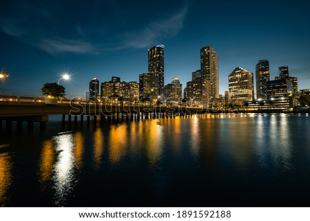 Night shot of Miami from a Brickell Key in Florida