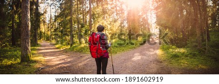 Woman hiking and going camping in nature. Concept of choosing of a right path at the wildlife area. Royalty-Free Stock Photo #1891602919
