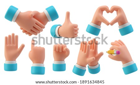 Hands Gestures 3D cartoon friendly funny style isolated on white background