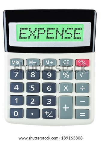 Calculator with EXPENSE on display on white background #189163808