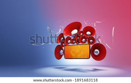 party social network confetti celebration speaker mobile online concert entertainment music connect live stream. Watching cinema and media. object clipping path. 3D Illustration.