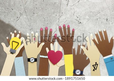 Diverse arms raising in colorful cartoon illustration