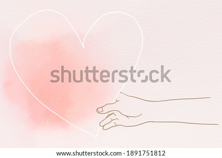 Hand holding heart in Valentine's day theme hand drawn illustration