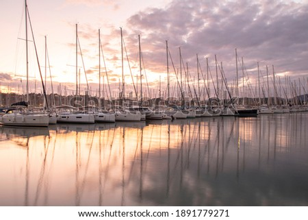 Sailboats view  in the Marina in Evening Time Royalty-Free Stock Photo #1891779271