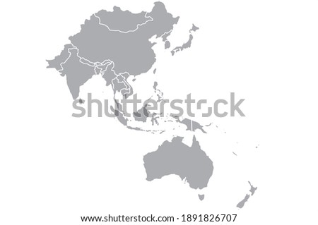 Map of Asia Pacific.Vector illustration Royalty-Free Stock Photo #1891826707