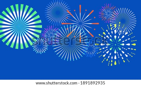 Clip art of fireworks in blue background.