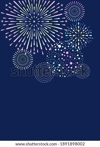 Clip art of fireworks,postcard template.