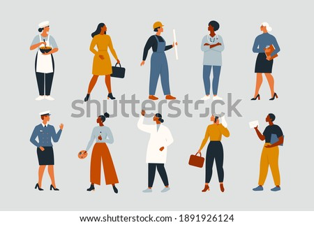 Collection of women people workers of various different occupations or professions wearing a professional uniform set vector illustration. Royalty-Free Stock Photo #1891926124