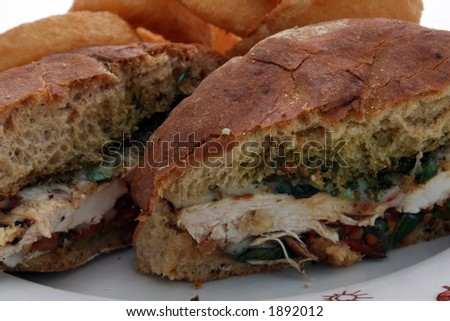 A tasty sandwich with onion rings #1892012