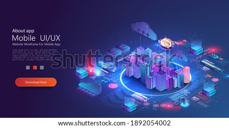 Futuristic infrastructure of a smart night city. Residential urban buildings for isometric innovation. City infrastructure, data traffic,ensure safety. Smart city with digital communication technology Royalty-Free Stock Photo #1892054002