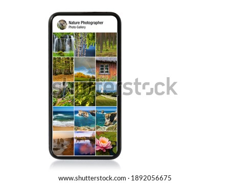 Nature and landscape photography gallery shown on mobile phone Royalty-Free Stock Photo #1892056675