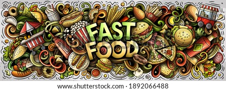 Fastfood hand drawn cartoon doodles illustration. Fast food funny objects and elements poster design. Creative art background. Colorful raster banner
