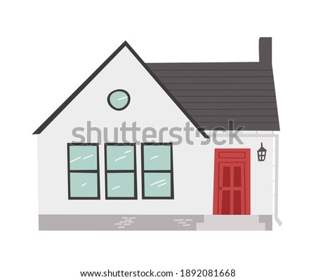 Hand Drawn Cartoon House on White Background Isolated. Flat style illustration Cozy Home. Little Cottage Drawing. Creative Digital  Art Work