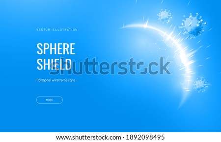 Dome shield geometric vector illustration on a blue background. Bubble shield futuristic for protection in an abstract glowing style. Landing page and cover in tech style Royalty-Free Stock Photo #1892098495