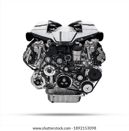 new car engine isolated on white background. Black and white image Royalty-Free Stock Photo #1892153098