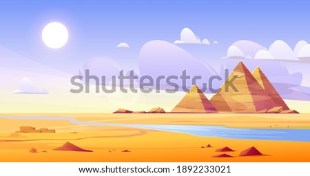Egyptian desert with river and pyramids. Vector cartoon illustration of landscape with yellow sand dunes, blue water of Nile, ancient tombs of Egypt pharaoh, hot sun and clouds in sky Royalty-Free Stock Photo #1892233021