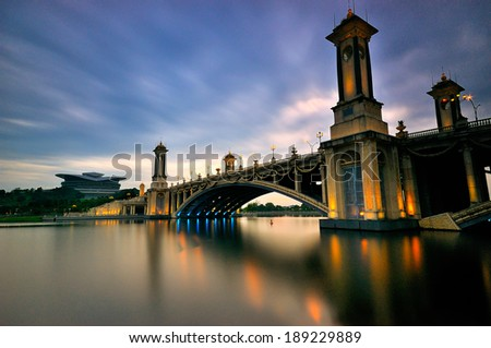 Modern bridge with traditional look during sunset #189229889