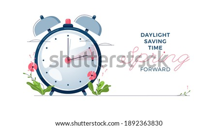 Daylight Saving Time banner. The clocks moves forward one hour. Floral decoration with pink flowers. Spring clock changes concept for web, emailing. Modern flat design, cartoon vector illustration Royalty-Free Stock Photo #1892363830