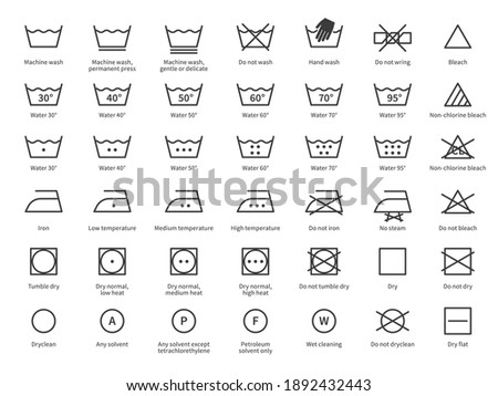 Laundry icons. Care clothes instructions on labels, machine or hand washing signs. Water, ironing and drying temperature symbols collection, textile and fabric types. Vector line items isolated set Royalty-Free Stock Photo #1892432443