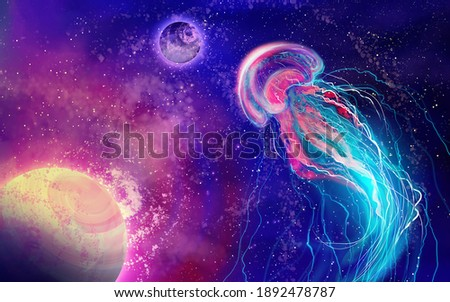 Free space galaxy, planets and space jellyfish. Fantasy abstraction. Space background