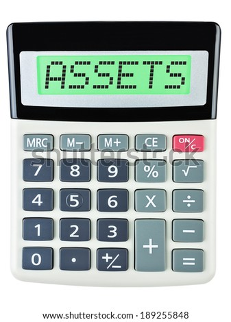 Calculator with ASSETS on display on white background #189255848