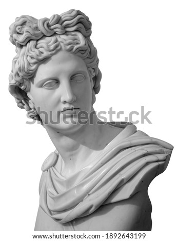 White gypsum copy of ancient statue of Apollo God of Sun head isolated on a white background. Plaster sculpture of man face. Renaissance portrait Royalty-Free Stock Photo #1892643199