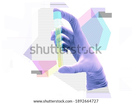 3D illustration of a hand in medical glove holding a test tube