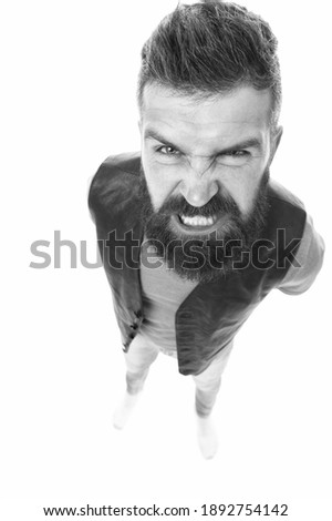 Extremely mad. Man aggressive face expression stand white background. Stressful day. Stressful male life. Aggressive mad man shout. Aggression causes headache. Guy angry aggressive person. Royalty-Free Stock Photo #1892754142