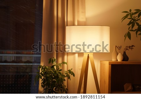 View of tripod lamp in a cozy living room spending warm light Royalty-Free Stock Photo #1892811154