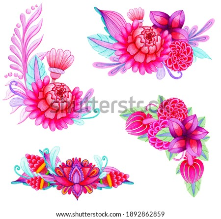 Set of flower garlands. Hand drawn watercolor painting. Purple pink buds and foliage borders. Isolated illustration on a white background. Bright ethnic motive.