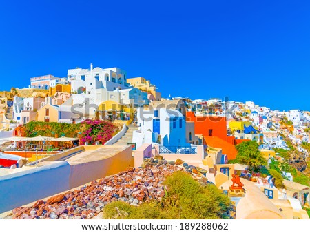 View of Oia the most beautiful village of Santorini island in Greece #189288062