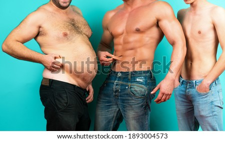Fat, muscular and thin. Different bodies. Before and after diet and workout. Weight loss and weight gain. Fat, muscular and thin mans. Fat percentage Royalty-Free Stock Photo #1893004573