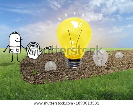 Hand drawn Cartoon Gardener Watering Light Bulbs in a Field - Collage