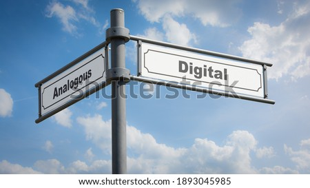 Street Sign the Direction Way to Digital versus Analogous Royalty-Free Stock Photo #1893045985