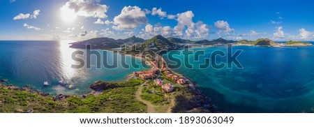 High Aerial view of the Caribbean island of French and Dutch St.Maarten and St martin.  Royalty-Free Stock Photo #1893063049