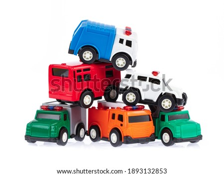 collection car toy kids isolated on a white background.