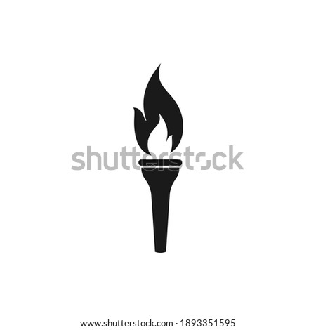Torch flame icon flat style isolated on white background. Vector illustration