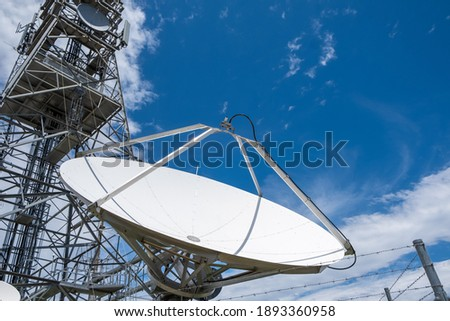 Large dish antenna against blue sky with copy space Royalty-Free Stock Photo #1893360958