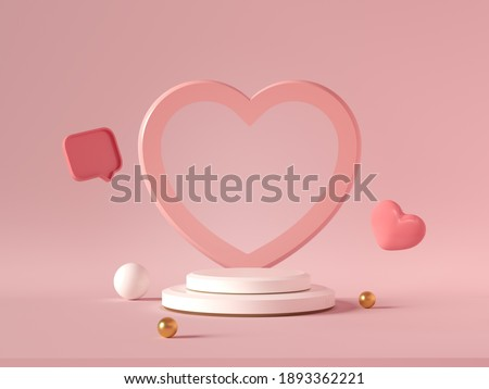 Minimal background, mock up with podium for product display,Abstract white geometry shape background minimalist Valentine's day pink background,Abstract mock up backgroundup 3D rendering.