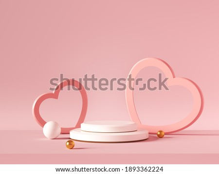 Minimal background, mock up with podium for product display,Abstract white geometry shape background minimalist Valentine's day pink background,Abstract mock up backgroundup 3D rendering. Royalty-Free Stock Photo #1893362224