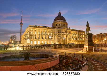 The reconstructed City Palace and the famous Television Tower in Berlin before sunrise Royalty-Free Stock Photo #1893387880