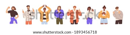 Set of happy people showing various positive emotions with gestures. Ok sign, clenched fist, thumbs up, victory fingers and hand heart. Colored flat vector illustration isolated on white background Royalty-Free Stock Photo #1893456718