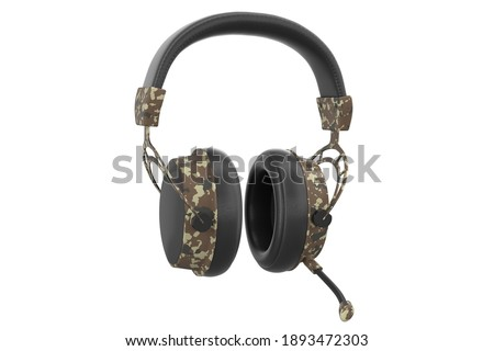 3D rendering of gaming headphones with microphone on white background with clipping path. Concept of cloud gaming and game streaming services