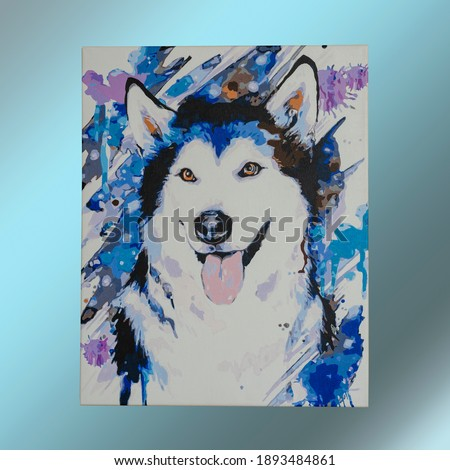 Colorful picture of dog breed husky painted with paint on canvas. Can be printed on shirts, bags, posters, invitations, cards, phone cases, pillows. Painting, art, creativity.
