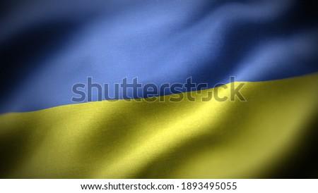 close up waving flag of Ukraine. flag symbols of Ukraine. Royalty-Free Stock Photo #1893495055