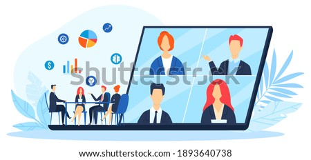 Work online, virtual office with business people working together and mobile devices vector illustration. Business management, online communication and finance. Workers in internet. Royalty-Free Stock Photo #1893640738