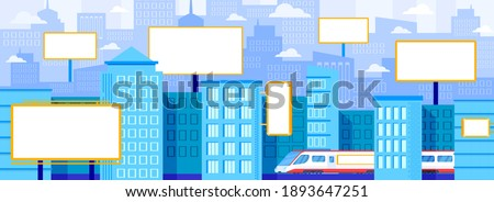 City advertising billboard vector illustration. Cartoon flat modern subway train, office skyscraper buildings and residential home apartments in downtown, white blank bill board advertise background Royalty-Free Stock Photo #1893647251