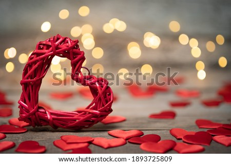 background for Valentine's Day on wooden boards